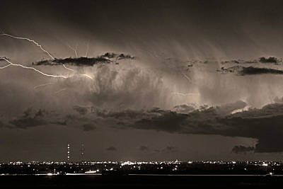 Cloud To Cloud Lightning Boulder County Colorado Bw Sepia Print by James BO  Insogna