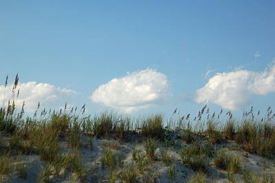 Cloud Trio And Dunes - Huntington Beach Sc Print by Suzanne Gaff