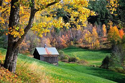 Autumn Foliage Photograph - Cloudland Rustic Barn - Pomfret Vermont by Thomas Schoeller