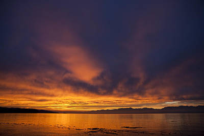 Juan De Fuca Photograph - Clouds Lit Up At Sunrise by Taylor S. Kennedy