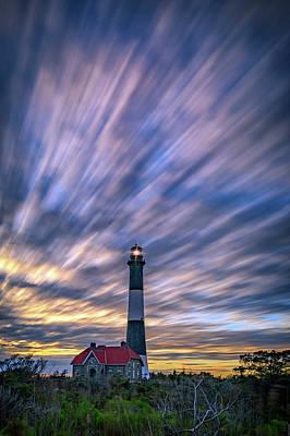 Guiding Light Photograph - Clouds Over Fire Island by Rick Berk