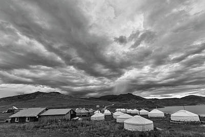Yurts Photograph - Clouds Over Ger Camp by Hitendra SINKAR