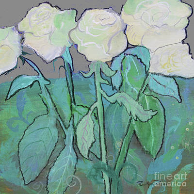 Tea Painting - Cloudy Day Roses by Robin Maria Pedrero