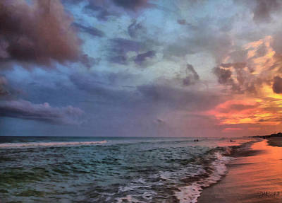 Cloudy Ocean Sunset Print by Theresa Campbell