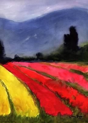 Tulip Festival Painting - Cloudy Skagit Tulip Fields by Janel Bragg
