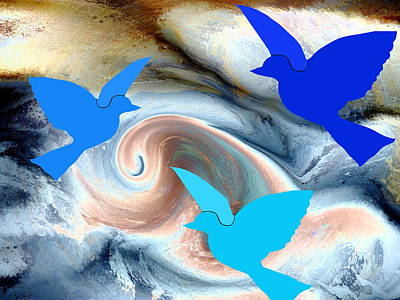 Colorful Digital Art - Cloudy Sky With Three Doves by Abstract Angel Artist Stephen K