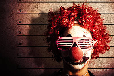 Clown Criminal Mug Shot Photo Id On Police Lines Print by Jorgo Photography - Wall Art Gallery