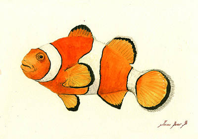 Clown Fish Painting - Clown Fish by Juan Bosco