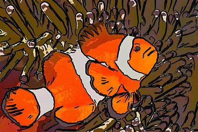 Anemonefish Painting - Clownfish And Anemones 3 by Lanjee Chee
