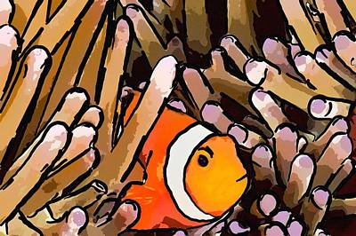 Anemonefish Painting - Clownfish And Anemones by Lanjee Chee
