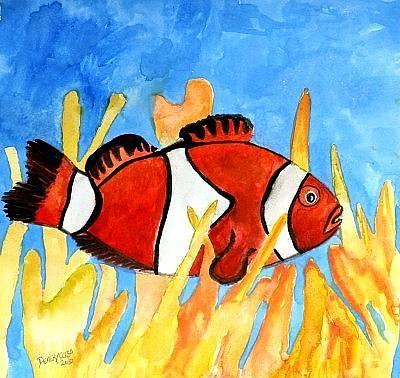 Fish Painting - Clownfish Marine Sealife Art Print by Derek Mccrea