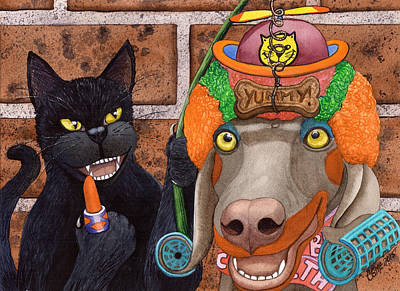 Wicked Kitty Painting - Clowning Around by Catherine G McElroy