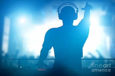 Electronic Photograph - Club Dj Playing And Mixing Music For People by Michal Bednarek