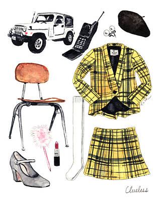 Great White Shark Painting - Clueless Movie Collage 90's Fashion by Laura Row