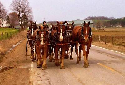 Horse Digital Art - Clydesdale Amish Plow Team by Chris Flees