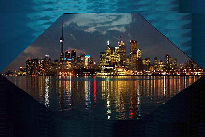Tasting Mixed Media - Cn  Tower And Toronto Down Town Water Front Beauty At Night Hexagon Poster  by Navin Joshi
