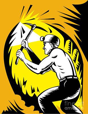Coal Miner At Work Print by Aloysius Patrimonio