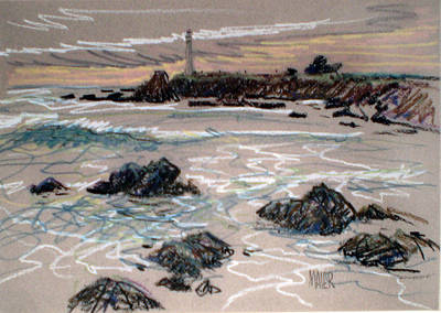 Pigeon Drawing - Coast At Pigeon Point Lighthouse by Donald Maier