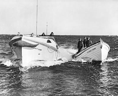 United States Coast Guard Photograph - Coast Guard Surf Rescue Boats by Underwood Archives