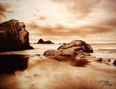 Pirogravura Pyrography - Coast by Juan Carlos Gonzalez