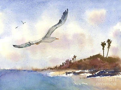 Flying Seagull Painting - Coastal Flight by Amy Kirkpatrick