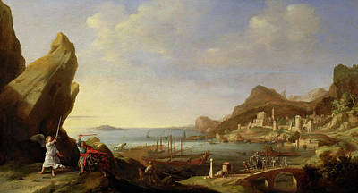 Bartholomeus Breenbergh Painting - Coastal Landscape With Balaam And The Ass by Bartholomeus Breenbergh