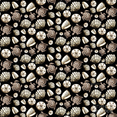 All-overs Mixed Media - Coastal Pattern Seashells And Turtles Sepia On Black By Megan Duncanson by Megan Duncanson