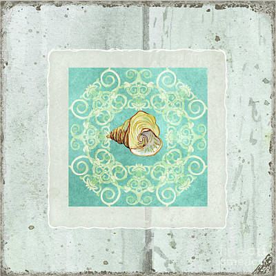 Coastal Trade Winds 2 - Driftwood Seashell Scrollwork Print by Audrey Jeanne Roberts