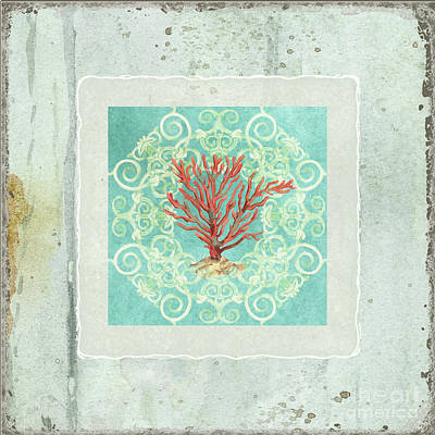 Coastal Trade Winds 3 - Driftwood Red Coral Seashell Scrollwork Print by Audrey Jeanne Roberts