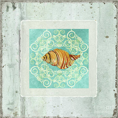 Coastal Trade Winds 5 - Driftwood Clandestine Triton Seashell Scrollwork Print by Audrey Jeanne Roberts