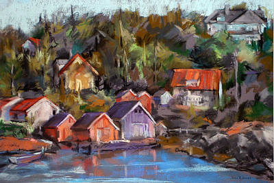 Coastal Painting - Coastal Village by Joan  Jones