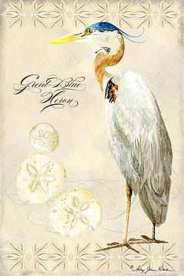 Coastal Waterways - Great Blue Heron Print by Audrey Jeanne Roberts