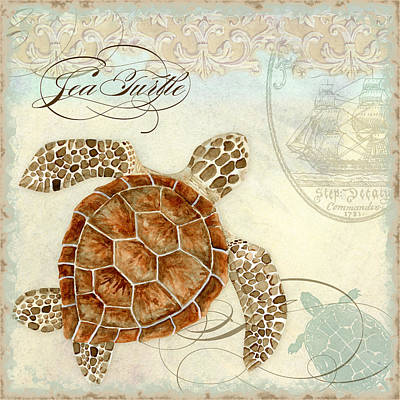 Tropical Fish Painting - Coastal Waterways - Green Sea Turtle 2 by Audrey Jeanne Roberts