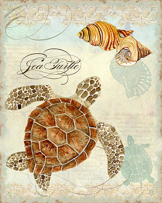 Stylized Mixed Media - Coastal Waterways - Green Sea Turtle Rectangle 2 by Audrey Jeanne Roberts