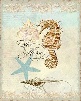 Stylized Mixed Media - Coastal Waterways - Seahorse Rectangle 2 by Audrey Jeanne Roberts