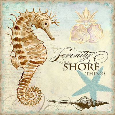 Tropical Fish Painting - Coastal Waterways - Seahorse Serenity by Audrey Jeanne Roberts