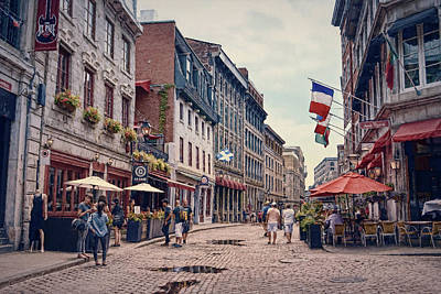 Montreal Landmarks Photograph - Cobblestone Streets In Old Montreal  by Maria Angelica Maira