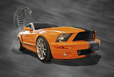 Cobra Power - Shelby Gt500 Mustang Print by Gill Billington