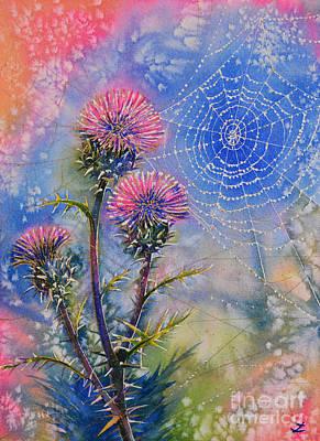 Cobweb On Artichoke Thistle Original by Zaira Dzhaubaeva