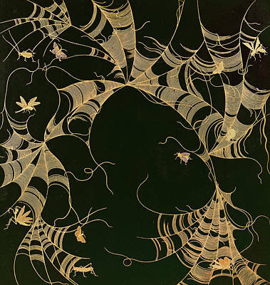 Spider Painting - Cobwebs And Insects by Japanese School