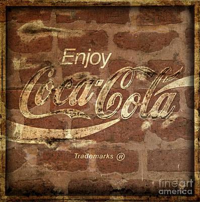 Coca-cola Sign Photograph - Coca Cola Brick Wall Texture Border Frame by John Stephens