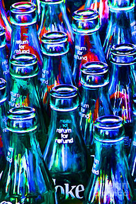 Coca-cola Coke Bottles - Return For Refund - Painterly - Blue Print by Wingsdomain Art and Photography