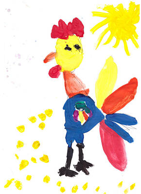 Rooster Painting - Cock-a-doodle-doo by Nat Air Craft