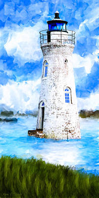 Seaside Mixed Media - Cockspur Island Light - Georgia Coast by Mark Tisdale