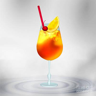 Delicately Digital Art - Cocktail Lime Cherry by Regina Koch