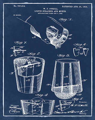 Martini Drawing - Cocktail Mixer Patent 1903 In Blue by Bill Cannon