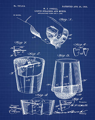 Martini Drawing - Cocktail Mixer Patent 1903 In Blueprint by Bill Cannon