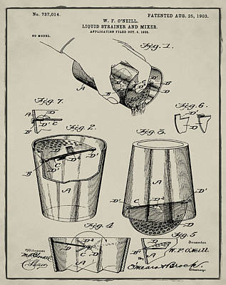 Martini Drawing - Cocktail Mixer Patent 1903 In Tan by Bill Cannon