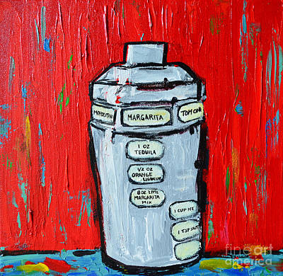 Interior Still Life Painting - Cocktail Shaker - Margarita - Bottoms Up by Patricia Awapara