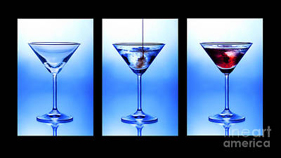 Cocktail Triptych Print by Jane Rix
